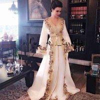 New White Beaded Muslim Long Evening Dresses Luxury Dubai Moroccan Kaftan Dress Long Sleeves Formal dress prom party gown robes de soiree