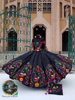 2022 Vintage Long Sleeves Quinceanera Dresses Mexican Style Charro Off Shoulder Flowers Embroidered Satin Lace-up Ball Gown Prom Sweet 16 Dress