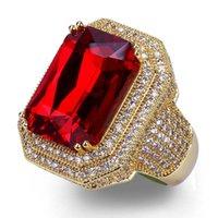 Mens Hip Hop Ring Jewelry High Quality Ruby Gemstone Zircon Fashion Gold Punk Rings