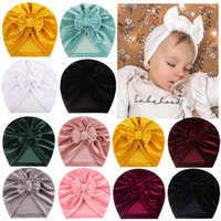 Big Bow Hat For Infant Hut Baby Girls Beanie Gold Velvet Pullover Bebes Warm Turban Cute Chapeau Caps & Hats