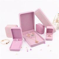 Rosa Schmuck Geschenk Verpackungsbox Samt Ring Manschettenknopf Ohrring Anhänger Charm Halskette Armreif Armband Brosche Schmuck Verpackungsboxen 350 B3