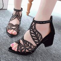 Sandals GAOKE Women Fashion Elegant Party Shoes Zip Mid Square Cover Heel Platform Summer Sequined