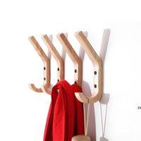 Творческие деревянные настенные крючки полотенце пальто шляпа вешалки дуба деревянные настенные крючки ключ держатель хранения дверной стойки организатор DHD7413