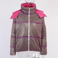Shiny Short Puffer Jackets For Women Cute Hooded Zip Up Bubble Coat Ladies Outerwear Warm Winter Clothes Women's
