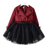 Girl's Dresses 2021 Red Plaids Dress Kids Baby Girls Long Sleeve Princess Party Pageant Holiday Christmas Clothes