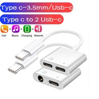 2 in 1 Type c to USB-C 3.5MM Jack Audio Charger Splitter Adapter Converter Cable For Samsung S21 S20 Note 20 Ultra Android phone Headphone Charging Adapters