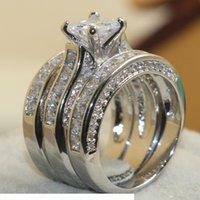 SZ 5-11 Victoria Wieck Kadınlar Lüks Takı 7mm Prenses Kesim Beyaz Safir Simüle Elmas Gem 925 Ayar Gümüş Düğün 3in1 Band Yüzük