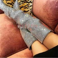 Super Hot Luxury Crystal Women Over The Knee Boots Sexy Pointy Toe Ladies Finger High Heel Boots Fashion Knight Boots