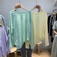 Women's T-Shirt Summer Women Thin Asymmetrical Oversized Tee Tunic Top Long Sleeve Plain Ultra Soft Crewneck Loose Casual T Shirt