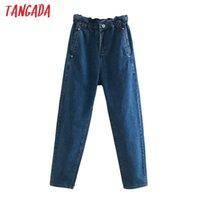 Женские джинсы Tangada 2021 Мода Женщины Свободный вред Брюки Длинные Брюки Свободные Талии Карманы Кнопки Женские Джинсовые 4M61