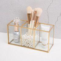Storage Boxes & Bins Transparent Glass Makeup Brush Box Gold Cosmetics Container Ring Pencil Lipstick Holder Make Up Brushes Organizer