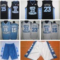 Unc Jersey Bordado Shorts North Carolina # 15 Vince Carter Azul Branco Costurado NCAA College Basketball Jerseys