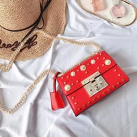 Hot High Flap Rivet Handbag Designer Famous Bag Padlock Desinger Chain Classic Bags Pearl And Minibags Quality Sale Shoulder Hegkn