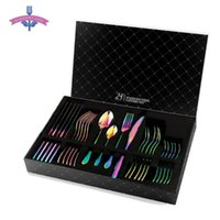 Dinnerware Sets 24 PCS Rainbow Tableware Non-fading Flatware Set Cutlery Stainless Steel Colorful El Party Kitchen Gift Box