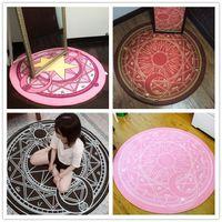Carpets 160*160cm Anime Sakura Round Style Decoration Fluffy Rugs Anti-Skid Shaggy Area Home Bedroom Carpet Floor Mat