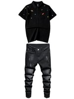 Мужские трексуиты 2021 летние растягивающие черные мужские наборы вышитые планеты элемент с короткими рукавами рубашка поло и джинсы плюс размер M-4XL 2 шт.