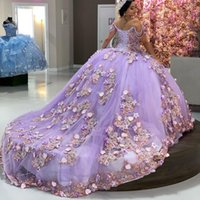 Perles d'épaule de luxe Quinceanera Robes Lilas Lilas Lilas Sweet Robe Princesse Sweet 16 Année Robes Vestidos de 15 Años Anos