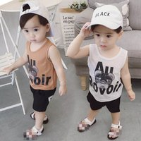 Baby Clothing Sets Boy Suit Boys Outfits Kids Summer Cotton Cartoon Tops Vest Shorts Pants Casual Wear 1-6Y B5206