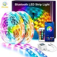 16.4ft 32.8ft 50ft led 스트립 조명 블루투스 앱 제어 RGB 5050SMD DC12V 유연한 스마트 스트립 테이프 빛 어댑터