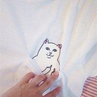 Tee Vender Tee Vertical Dedo Médio Bolso Barato Gato De Manga Curta T-shirt cinza preto e branco 3 opções de cor