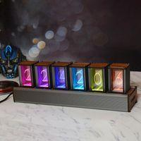 Decorative Objects & Figurines LED Pseudo Glow Tube Clock RGB Colorful Discoloration Walnut Aluminum Alloy Digital DIY Kits 6-Bit Kit
