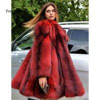 FENGGUILAI зимняя подделка Fake Foh Part Women целая кожа подлинная женская куртка с длинным поворотным воротником роскошь Y1015