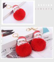 12 Styles Festive big red Santa Claus Fluffy Key Chain Faux Rabbit Fur Ball Pom pon Keychain Women Bag Key Ring LLD8891