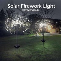 Party Decoration Solar Powered Outdoor Grass Globe Dandelion Fireworks Lamp 90 120 150 LED For Garden Lawn Landscape Holiday Light