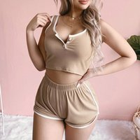 2021 Summer Fitness Sexy 2nd set Women's Training suit Button Up V-neck Tank Crop Tops & Sport Women Whorts Home Suit For Ladies