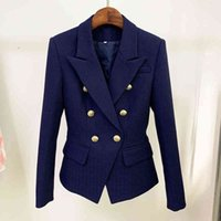 Women's Suits & Blazers HIGH STREET est Classic Designer Jacket Silver Lion Buttons Double Breasted Slim Fit Textured Blazer Q991