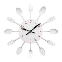 Kitchen Wall Clock, Timelike 3D Removable Modern Cutlery Spo...