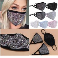 designer Diamond face mask fashion luxury bling women Glitter sequins sunscreen with diamond s trendy rhinestone