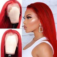 18-28 pulgadas de color rojo largo Larga peluca frontal de encaje brasileño sedoso resistente al calor resistente al calor Syntheitc pelucas para mujeres negro / blanco Cosplay Daily Party