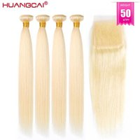 50g 5 6 7 Pcs #613 Honey Blonde Bundles With Closure Brazilian Straight Remy Extension hd Lace 100% Human Hair For Women