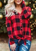 Осенние длинные кардиганские топы красные клетчатые рубашки женщины V-образным вырезом кнопка рубашки с длинным рукавом повседневная свободная хлопковая блузка 2020 новое поступление X0521
