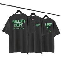 Galerieabteilung grüner Brief T-shirts lose solide farbe männer frauen tops vintage harajuku casual bottoms tees jugend übergroße stil sommer high straße hip-hop o-neck