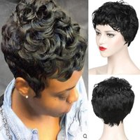 Synthetic Wigs Women Short Black Brown Wavy Curly Wig Heat Resistant Fiber With Bang For Daily Party Use Nature Looking