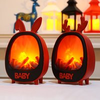 Christmas Decorations Cartoon Fireplace Lamp Night Lights Lantern Home Garden Easter Antlers Rabbit Ears Ornaments Party Supplies