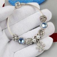 الأزياء الأصلي باندوراس 925 الفضة الأزرق كريستال ندفة الثلج قلادة سوار مجوهرات الخرز سحر عيد هدية عيد أساور