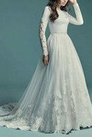 2021 Arrival A-line Country Modest Wedding Dress With Long Sleeves Lace Tulle Buttons Back Scoop Neck Religious LDS Bridal Gown Sleeved