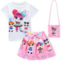 Zomer kinderkleding meisjes mode 3-delige set met tassen cartoons groothandelsprijs voor kinderen stripfiguur print kinderen outfit fabriek gratis paniek kopen