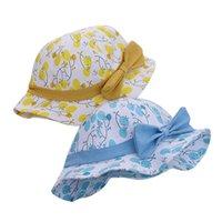 Bow Baby Meninas Chapéu Rosa Princesa Balde Caps Primavera Verão Outdoor Viagem Sol Chapéus Print Bonito Pescador Tampão 1-3 Anos