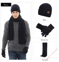 Raser Men's Winter Beanie Hat Neck Warmer Scarf and Touchscreen Gloves 3 PCS Knitted Cap Set for Men & Women