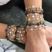 Геометрический CZ Star Bar Link Chain Bracelets асфальтированные крошечные блестящие блестящие CZ камень для женщин простые ювелирные изделия вечеринки свадебные подарки LJ200323