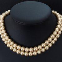 Złoto-żółtą powłoki klasyczny symulowane perłowej 8mm kule naszyjnik długołańcuchowe tworzenia biżuterii 34 calowego MY2027