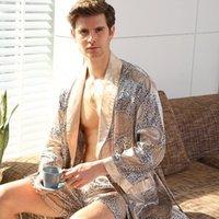 5XL 2 피스 세트 목욕 가운 새틴 실크 고급 스러움 남자 반바지 정장 기모노 홈 얇은 남성 소프트 아늑한 긴팔 욕조 가운