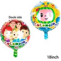 50 adet / paket 18 inç Cocomelon Balon Karikatür Karpuz Karakter Alüminyum Film Balonlar Çift Taraflı Doğum Günü Partisi Dekorasyon Topları G31805