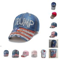 Cappelli da festa Trump 2024 Berretto da baseball Cappelli elettorali Elezione Cappelli da campagna Cowboy Diamond Caps Regolabile Donne Denim By Sea DWD8926