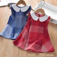소매 / 도매 아기 여자 옷깃 격자 무늬 코튼 vestdresses 소녀 공주 드레스 chilldren 디자이너 옷 아이 의류