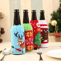christmas knitted wine bottle cover party favor xmas beer wines bags santa snowman moose beers bottles covers LLB11165